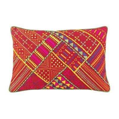 Jaipur Embroidery Cotton Recutangular Cushion Cover - Red