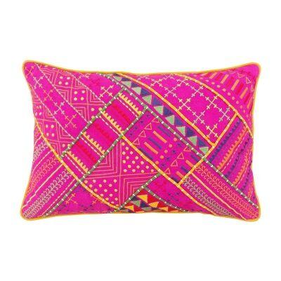 Jaipur Embroidery Cotton Recutangular Cushion Cover - Pink