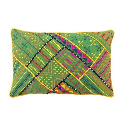 Jaipur Embroidery Cotton Recutangular Cushion Cover - Green