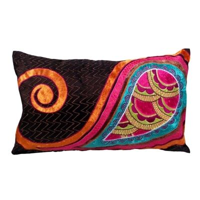 Paandu Embroidered Espress Poly Taffeta Handmade Cushion Cover - 30x50cm