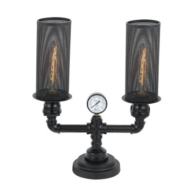Veneto Iron 2 Light Table Lamp, Black