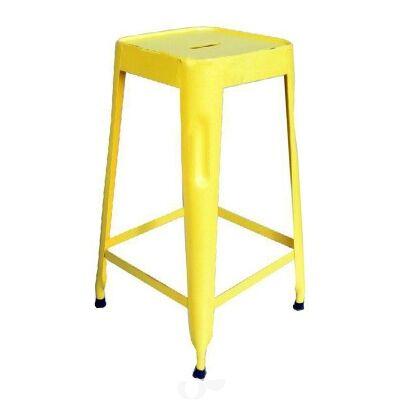 Paris Industrial Iron Counter Stool, Yellow