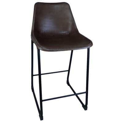 Bachell Leather & Steel Counter Stool, Dark Brown