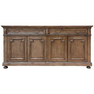 Aldreth Pine Timber 4 Door 2 Drawer Buffet Table, 190cm