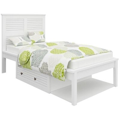 Rhode Wooden Bed with Storage, King Single