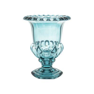 Vidor Glass Urn Vase, Aqua