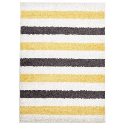 Stencil Egyptian Made Shag Rug, 290x200cm, Yellow/Charcoal