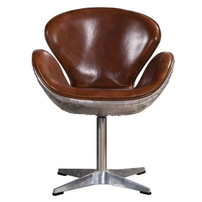 Altitude Vintage Leather and Aluminium Armchair