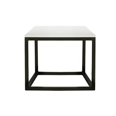 Tacoma Steel Square Lamp Table with Marble Top