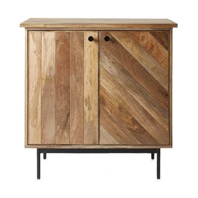 Kalvesta Solid Mango Wood Timber and Iron 2 Door 85cm Cabinet