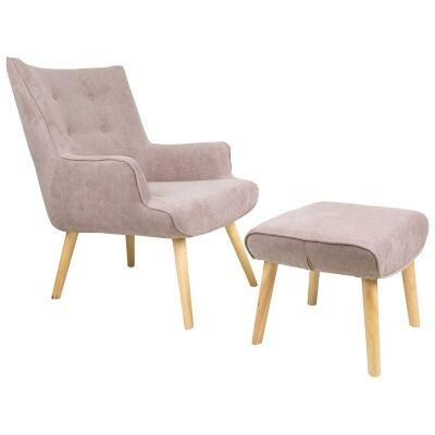 Tarana Fabric Armchair and Foot Stool Set, Brown