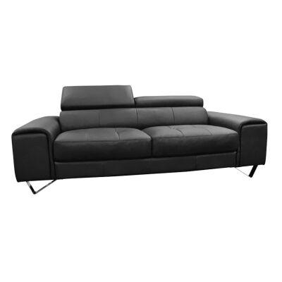 Majorca 3 Seater Leather Sofa, Black