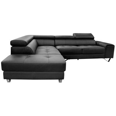 Majorca 2 Seater Leather Corner Sofa with Left Hand Facing Chaise, Black