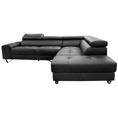 Majorca 2 Seater Leather Corner Sofa with Right Hand Facing Chaise, Black