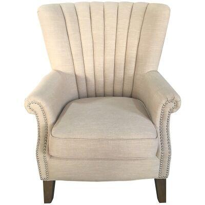 Elara Fabric Uphostered Armchair - Beige