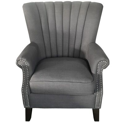 Elara Fabric Uphostered Armchair - Grey