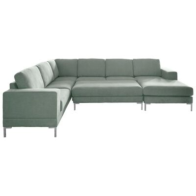 Islip Fabric 5 Seater Corner Sofa with Right Hand Facing Chaise and Ottoman, Spa