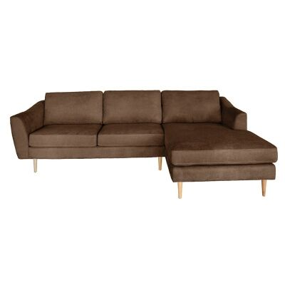 Montreal Fabric 2 Seater Corner Sofa with Right Hand Facing Chaise, Mocha