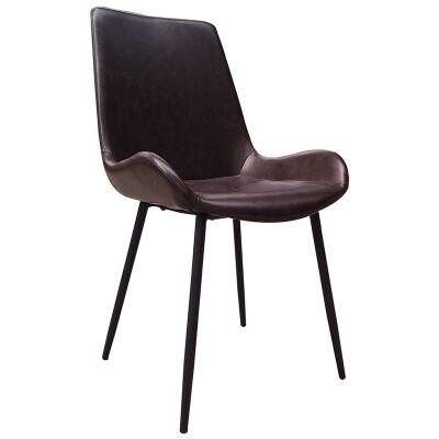 Dunstan PU Leather Upholstered Metal Dining Chair, Vintage Dark Brown