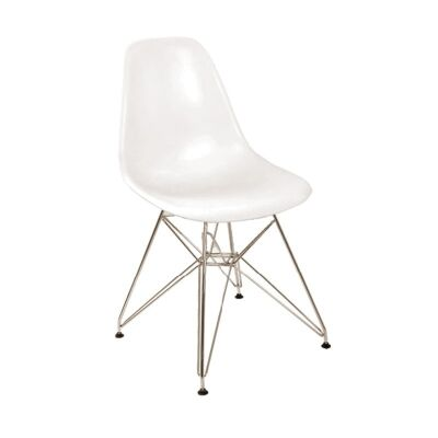 Charles Dining Chair with Metal Legs - White