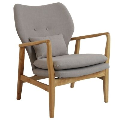Rhos Fabric Upholstered Timber Armchair, Beige