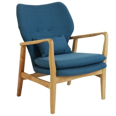 Rhos Fabric Upholstered Timber Armchair, Blue