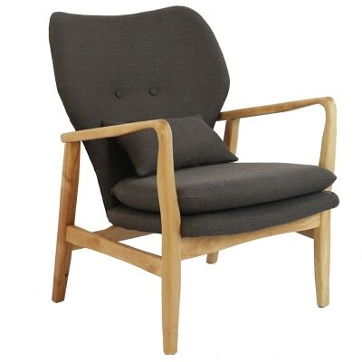 Rhos Fabric Upholstered Timber Armchair, Charcoal