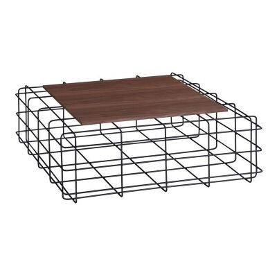Wasco Metal Wire Square Coffee Table with Wooden Top, 92cm
