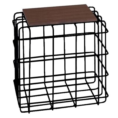 Wasco Metal Wire Square Side Table with Wooden Top