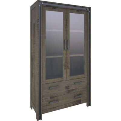 Pittsfield Solid Acacia Timber 2 Door 2 Drawer Display Cabinet