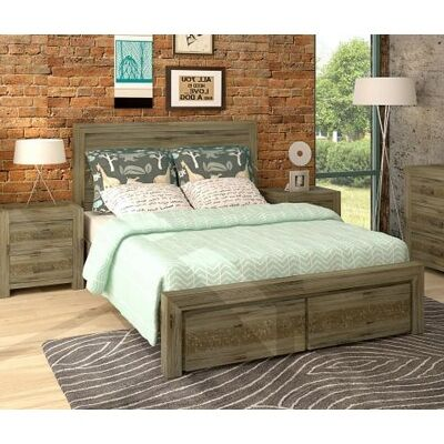 Yarsley Solid Acacia Timber King Bed with End Drawers