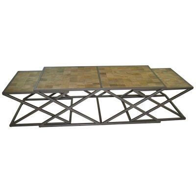 Enchant 3 Piece Solid Timber and Metal 120cm Coffee Table Set