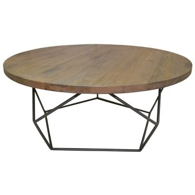 Pekisko Solid Timber and Metal 85cm Round Coffee Table
