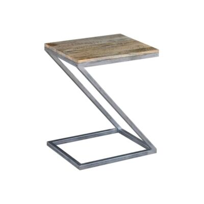 Byrne Solid Mango Wood Timber and Metal Z-Shape Side Table