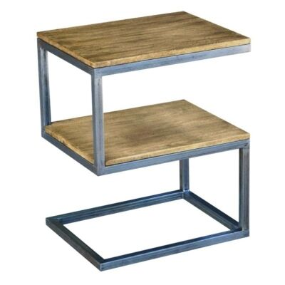 Byrne Solid Mango Wood Timber and Metal S-Shape Side Table