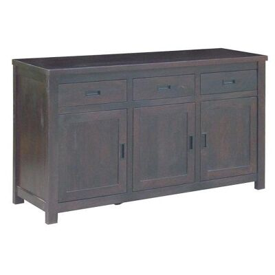 Pluto Solid Mango Wood Timber 3 Door 3 Drawer Buffet Table, 168cm, Chocolate