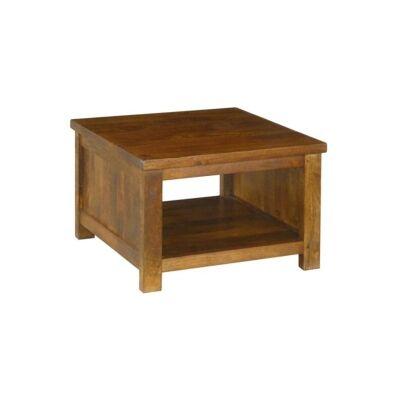 Pluto Solid Mango Wood Timber Open Shelf Lamp Table, Light Honey