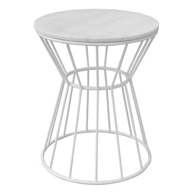 Sierra Metal Wire Round Side Table with Marble Top