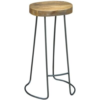 Hannah Metal Wire Bar Stool with Timber Seat,  Natural/Distressed Grey