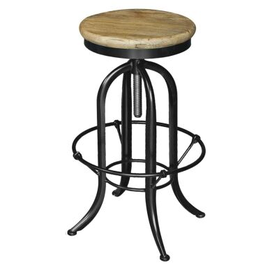 Conrad Industrial Adjustable Metal Bar Stool with Elm Timber Seat, Natural/Black