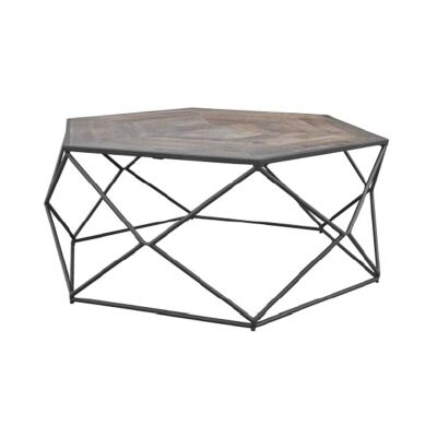 Alva Metal Wire Coffee Table with Wooden Top, 92cm