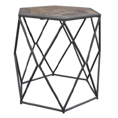 Alva Metal Wire Side Table with Wooden Top