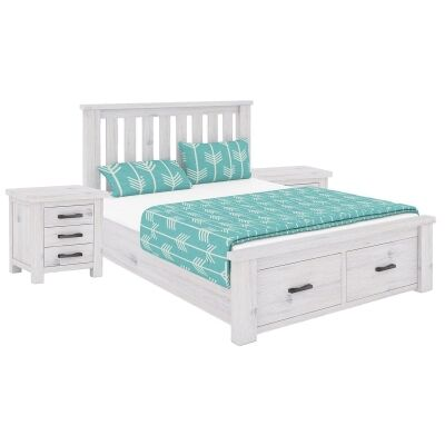 Brockport 3 Piece Acacia Timber End Drawer Bed & Bedside Set, Double