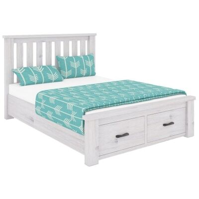 Brockport Acacia Timber Bed with End Drawers, Double