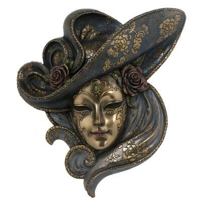 Cast Bronze Venetian Mask Wall Art, Roses