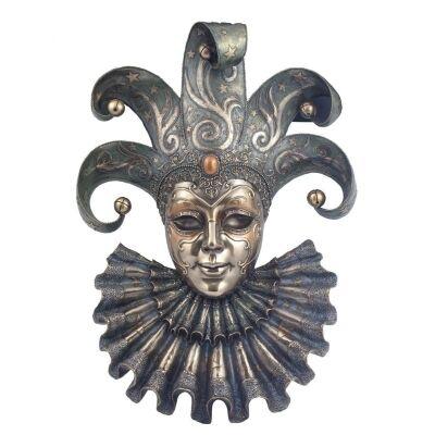 Cast Bronze Venetian Mask Wall Art, Jester