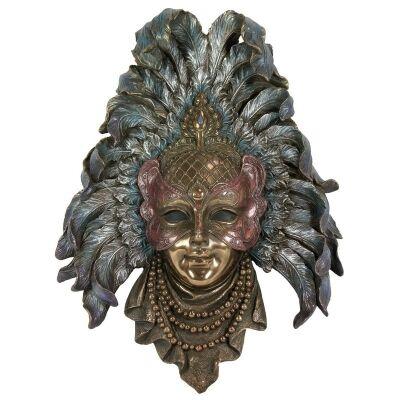 Veronese Cold Cast Bronze Coated Venetian Mask Wall Art, Feather Headdress
