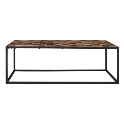 Treves Parquetry Timber & Metal Coffee Table, 122cm