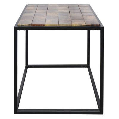 Treves Parquetry Timber & Metal Side Table