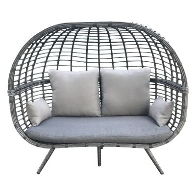 Hervey Rattan Outdoor Lounge Chair, Double